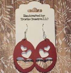 Nickel Free Silvertone Hardware Made from Maple Hardwood Custom Valentine/'s Day Sweet Heart Earrings