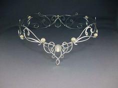 Shannon Bridal Crown, Silver Wedding Crown, Celtic Crown, Reign Medieval Renaissance, Crystal Veil Headdress
