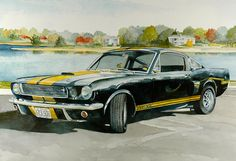 1966 Mustang GT350H.  Made for the Hertz company as a rental car!!?!!  Original watercolors and prints of this car and other cool ones available at www.turleydesigngroup.com