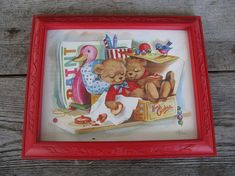 Vintage homco bear print home interiors childrens wall decor 1985 c hansen print red frame Cookie Box, Bear Print, Take A Nap, Cookies Et Biscuits, Cork, Showers, Hanger, Framed Prints, Wall Decor