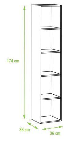 Medidas 174 x 36 x 33 cm (alto x ancho x fondo). Cada balda soporta un. Bookshelf Design, Wall Shelves Design, Woodworking Projects Diy, Woodworking Plans, Wood Furniture, Furniture Design, Bois Diy, Paint Colors For Living Room, Closet Designs