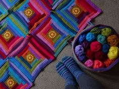 The Sunny Log Cabin Blanket by Attic 24. She had a CAL; great idea to break this blanket down when making this project ourselves!