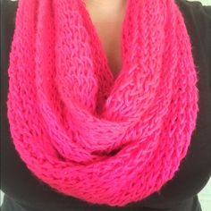 Handmade Bright Pink Infinity Scarf Handmade! No pulls. 🎄Great Christmas gift!🎄 ⭐️Use like button to get price drop notifications! ❤️ ⭐Bundle to save   ⭐️Personalized bundles!  ⭐️ Use the offer button ⭐️Same day shipping ⭐️ Smoke free home 🚫 No PayPal  🚫 I don't sell on any other apps 🚫 No trades Accessories Scarves & Wraps