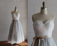 Strapless Ivory Lace Silver Grey Tulle Tea Length by misdress, $119.99