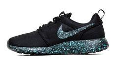 Nike Roshe One Customized by Glitter Kicks - Black / Blue Paint Speckle