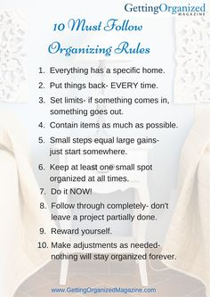 10 organizing rules by gettingorganized magazine Household Cleaning Tips, House Cleaning Tips, Spring Cleaning, Cleaning Hacks, Clutter Organization, Household Organization, Business Organization, Organization Ideas, Declutter Your Home