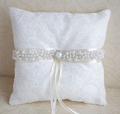 Ring Bearer Pillow Ivory Bridal Pillow. Ready by MagnoliaHandmade, $49.00