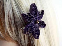 Purple Hair Clip Plum Hair Flower Purple by MiaettiaCreations, $14.00