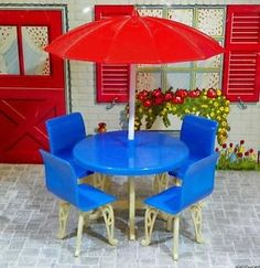 Plasco-PATIO-TABLE-UMBRELLA-Vintage-Dollhouse-Furniture-Renwal-Ideal-Plastic Vintage Dollhouse, Dollhouse Dolls, Vintage Dolls, Dollhouse Miniatures, Miniature Furniture, Doll Furniture, Dollhouse Furniture, Patio Table Umbrella, Red And White Kitchen