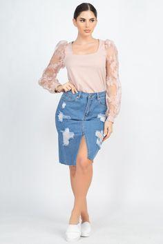 Distressed Front Slit Denim Skirt | KjSelections Denim Skirt, Lace Skirt, Southern Boutique, Dress Making, High Waisted Skirt, Fashion Dresses, Dressing, Classy, Front Button