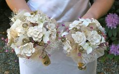 SALE on the set. Cream and Pink Bridal Bouquet by jcmartanddesign, $155.00