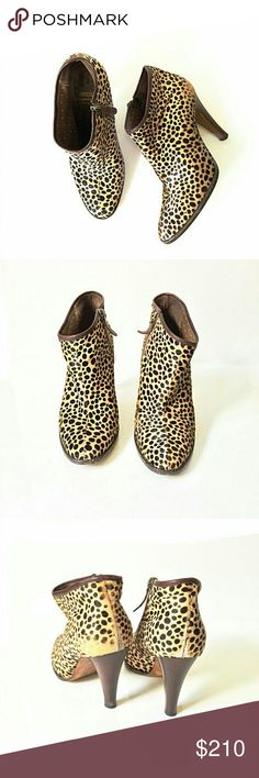 Moschino Cheap and Chic Spotted Cowhide Booties In good condition. Wear on soles and fading of hide on back of boot (see picture). Size 38.5.  Smoke and pet free home. Ships within one business day. Moschino Shoes Ankle Boots & Booties
