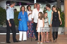 King Felipe VI of Spain, Queen Sofia, Victoria Federica Marichalar, Princess Elena of Spain, King Juan Carlos, Princess Leonor of Spain, Princess Sofia of Spain, Felipe Juan Froilan Marichalar and Queen Letizia of Spain are seen at the Flaningan Restaurante on July 31, 2016 in Portals Nous, near of Palma de Mallorca, Spain.