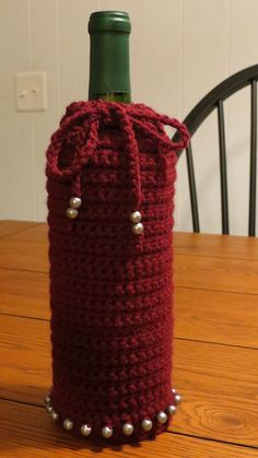 Crocheted Wine Bag.