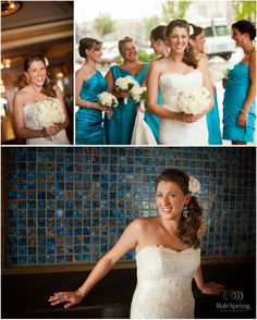 Beautiful Darcy looks so chic wearing her Annabelle gown! Love those turquoise blue bridesmaid's dresses!  Darcy & Mike – Key Hall at Proctors Wedding Photography – Schenectady, NY Photographer » Rob Spring Photography