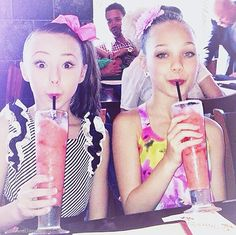Maddie's like all calm just drinking a smoothie, Sophia's like OMG I'm drinking a strawberry smoothie next to Maddie!! Just saying Sophia's hair looks like Jojo's. Please no hates to Sophia she is a wonderful dancer anyone can wear that hair. Also no hates to Jojo I'm not trying to say she doesn't own the world just scared Sophia might get hates for wearing Jojo's side pony with a bow.