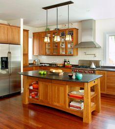 Custom Made Arts & Crafts Kitchen Island by Richard Bubnowski Design LLC