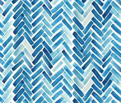 Blue herringbone watercolor fabric by mrshervi on Spoonflower - custom fabric