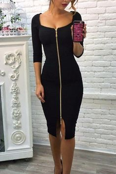7c6cb01499 Square Neck Zipper Plain Half Sleeve Bodycon Dresses – ebuytide Bodycon  Dress With Sleeves
