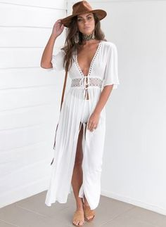 Bikini Cover up Solid Hollow out Beach Dress Summer Chiffon Swimwear Women Long Sleeve Bathing Suit Cover up Sexy Swimsuit tunic - White M Source by CreativeDreamscape suits for women Dress With Cardigan, Maxi Dress With Sleeves, Kimono Cardigan, Half Sleeves, Kimono Dress, Long White Maxi Dress, White Dress, White Kimono, Floral Kimono