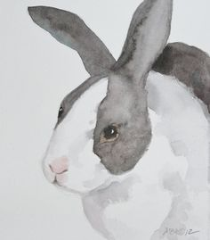 Bunny Rabbit Watercolor Painting Bunny Art Rabbit Art Black and White Spring Easter Bunny Original Art Bunny Painting, Painting & Drawing, Painting Fur, Watercolor Illustration, Watercolor Paintings, Watercolours, Hare Pictures, Rabbit Pictures, Black And White Rabbit