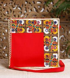 Red Embroidered #Rexine #Handbag #Dhaaga