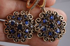 Turkish Handmade Sapphire Atomic Gold Color Plated 925 Sterling Silver EarRings #Handmade #Atomic