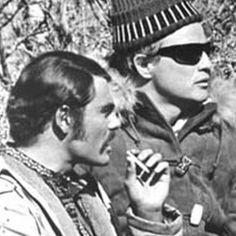 Marlon Brando on the set of the Appaloosa with John Saxon.