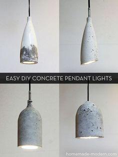 concrete pendant light | Easy #DIY concrete pendant lights! #modern