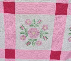 Charming Vintage EMBROIDERED FLORAL Quilt  by TextilesandOldThings