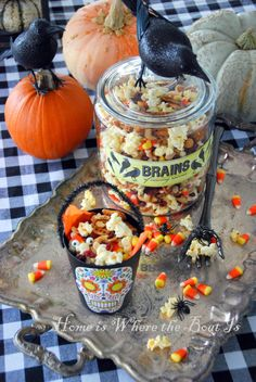 Scare up some snack mix for Trick-or-Treaters~ Brains of Cawing Ravens  @Home is Where the Boat Is #halloween