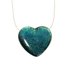 Gold Leaf in resin pendant Heart shape aqua blue by etsymoresin
