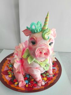 Pigunicorn by carlaquintas - I love this. Don't ask me why but I want this as my birthday cake. Pretty Cakes, Cute Cakes, Beautiful Cakes, Amazing Cakes, Funny Birthday Cakes, Funny Cake, Mini Cakes, Cupcake Cakes, Pig Cupcakes