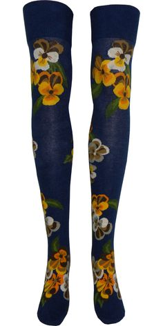 Product Details Over the knee socks with bouquets of brown, white, orange, and yellow pansies set atop a navy blue background. Sizing Information: One Size Fits All Style: Over the Knee Primary Colors