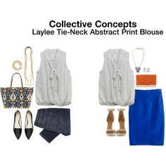 Collective Concepts Laylee Tie-Neck Abstract Print Blouse