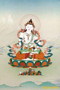 Traditional Gold Thangka of Vajrasattva Buddha Painting, Buddha Art, Painting Canvas, Tibetan Art, Tibetan Buddhism, Buddhism Symbols, Vajrayana Buddhism, Buddhist Traditions, Sacred Art