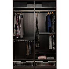 IKEA PAX Wardrobe with interior organizers, black-brown, Auli mirror glass