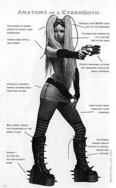 Anatomy of a CyberGoth, bahahaha love this one. Gotta love Voltaire for this one.  I have this book.  It's great.  What is Goth?  By Voltaire