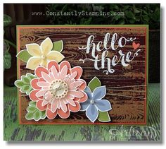 Stampin' Up! Flower Patch, Flower Fair framelits, Photopolymer Stamp set with emboss resist remove background. Handmade Greetings, Greeting Cards Handmade, Stampin Up Catalog, Origami, Flower Patch, Scrapbook Cards, Scrapbooking, Punch, Stamping Up Cards