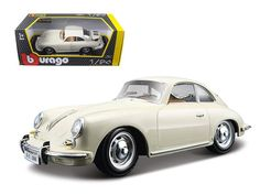 1961 Porsche 356 B Coupe Ivory / White 1/24 Diecast Model Car by Bburago
