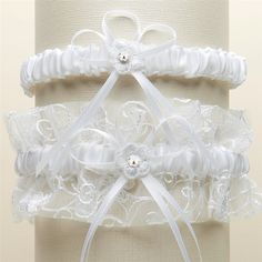 Vintage Wedding Garter Set with Floral Embroidered Tulle - White, Ivory, or White w/Blue Accent