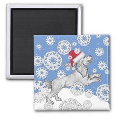 Christmas Snow Dog Cocker Spaniel Blue Snowflakes Magnet   cocker spaniel english, caviler king charles spaniel, cocker spaniel puppies american #cockerspanielmix #cockerspanielmoments #cockerspaniellovers, back to school, aesthetic wallpaper, y2k fashion Black Cocker Spaniel Puppies, English Cocker Spaniel, Snow Dogs, King Charles Spaniel, Paper Cover, Lps, Aesthetic Wallpapers, Snowflakes, Blue And White