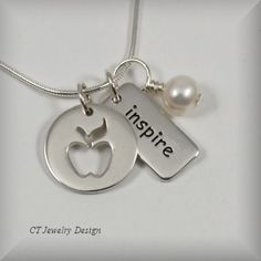 Teacher Apple with Inspire Charm Sterling Silver Pendant Necklace