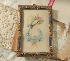 Vintage Italian Florentine Style Blue and Gold Gilt Frame / Watercolor of a Woman