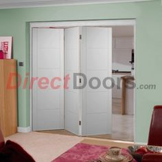 The Florida flush white folding door.  Doors can open left or right and towards or away from you.  #roomfoldfoldingdoors