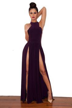 Clothing : Max Dresses : 'Savina' Plum Double Thigh Split Maxi Dress