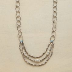 """TAGLIA NECKLACE--In this sterling silver link necklace, large roped links make way for a three-strand assembly of little beads strung on silk. A Sundance exclusive. Lobster clasp. Handmade in USA. 18""""L."""