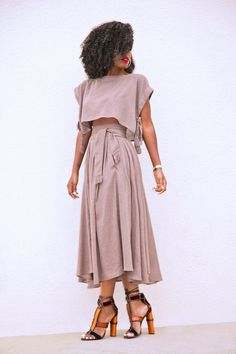 Style Pantry | Boxy Crop Top   Wrap Midi Skirt