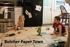 Create a butcher paper town with Rub Some Dirt On It Paper Towns, Small World Play, Butcher Paper, Activities, Create, Blog, Ideas, Gift Wrapping Paper, Paper Towns Plot
