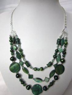 3 Strand Necklace of Dark Green Mother of Pearl Beads and Fresh Water Pearls